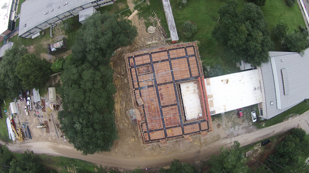 Overhead photo, pre-pour, Pere Rouquette Library at Saint Joseph Seminary College