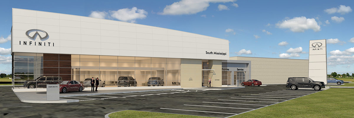 The new Ray Brandt Infiniti of South Mississippi dealership was designed by VergesRome Architects of New Orleans